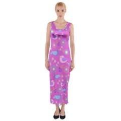Spring pattern - pink Fitted Maxi Dress