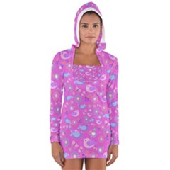 Spring pattern - pink Women s Long Sleeve Hooded T-shirt
