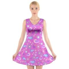 Spring pattern - pink V-Neck Sleeveless Skater Dress