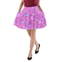 Spring pattern - pink A-Line Pocket Skirt