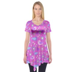 Spring pattern - pink Short Sleeve Tunic