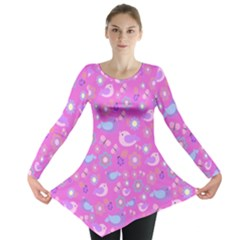 Spring pattern - pink Long Sleeve Tunic