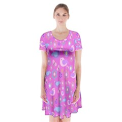 Spring pattern - pink Short Sleeve V-neck Flare Dress