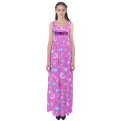 Spring pattern - pink Empire Waist Maxi Dress