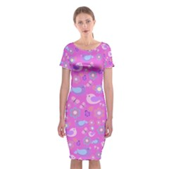 Spring pattern - pink Classic Short Sleeve Midi Dress