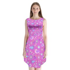 Spring pattern - pink Sleeveless Chiffon Dress
