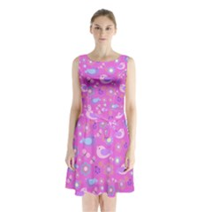 Spring pattern - pink Sleeveless Chiffon Waist Tie Dress