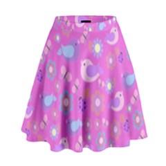 Spring pattern - pink High Waist Skirt