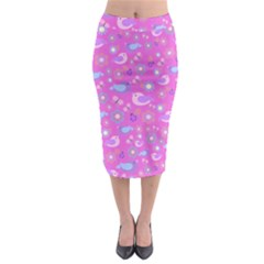 Spring pattern - pink Midi Pencil Skirt