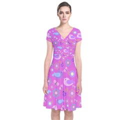 Spring pattern - pink Short Sleeve Front Wrap Dress