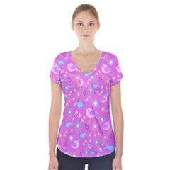 Spring pattern - pink Short Sleeve Front Detail Top
