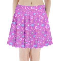 Spring pattern - pink Pleated Mini Skirt