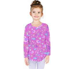 Spring pattern - pink Kids  Long Sleeve Tee