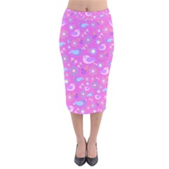 Spring pattern - pink Velvet Midi Pencil Skirt