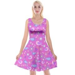 Spring pattern - pink Reversible Velvet Sleeveless Dress