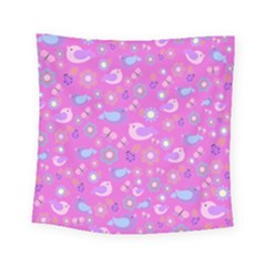 Spring pattern - pink Square Tapestry (Small)