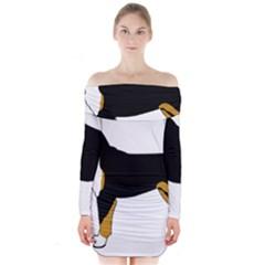 Entlebucher Mt Dog Silo Color Long Sleeve Off Shoulder Dress