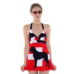 Entlebucher Mt Dog Silo Switzerland Flag Halter Swimsuit Dress