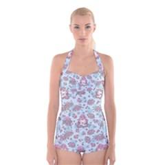 Space Roses Boyleg Halter Swimsuit