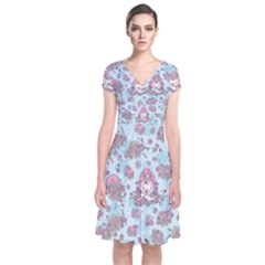 Space Roses Short Sleeve Front Wrap Dress
