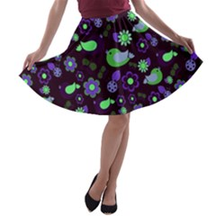 Spring night A-line Skater Skirt
