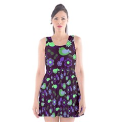 Spring Night Scoop Neck Skater Dress