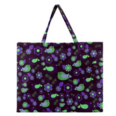 Spring night Zipper Large Tote Bag