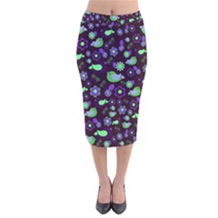 Spring night Velvet Midi Pencil Skirt
