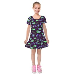 Spring night Kids  Short Sleeve Velvet Dress