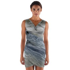 2 Flat Coated Retrievers Swimming Wrap Front Bodycon Dress