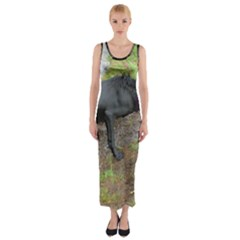 Flat Coated Retriever Wet Fitted Maxi Dress