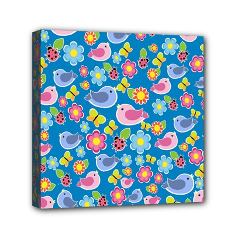 Spring pattern - blue Mini Canvas 6  x 6