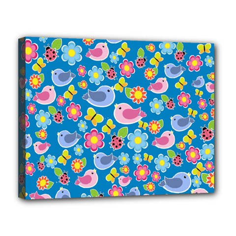 Spring pattern - blue Canvas 14  x 11