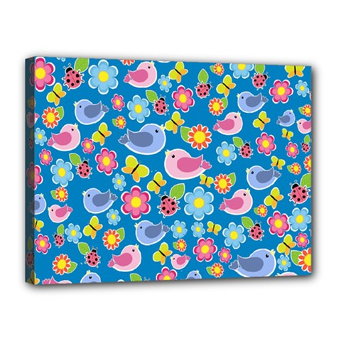Spring pattern - blue Canvas 16  x 12