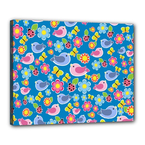 Spring pattern - blue Canvas 20  x 16