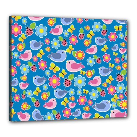 Spring pattern - blue Canvas 24  x 20