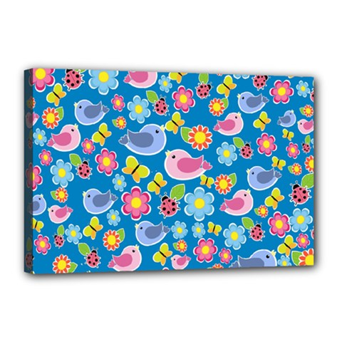 Spring pattern - blue Canvas 18  x 12