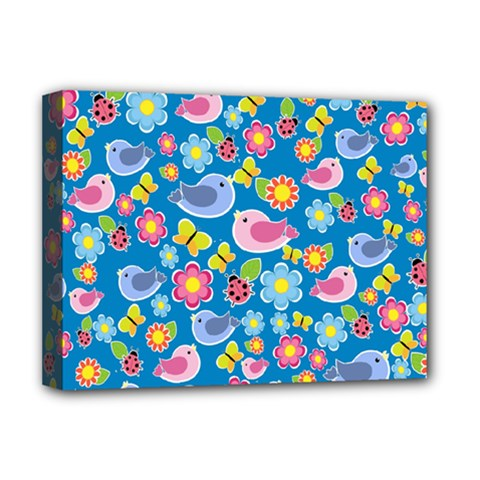 Spring pattern - blue Deluxe Canvas 16  x 12