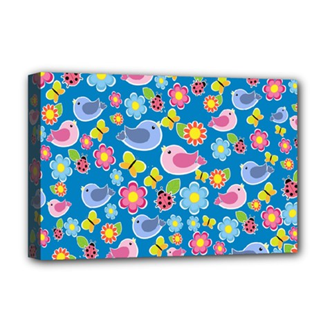 Spring pattern - blue Deluxe Canvas 18  x 12