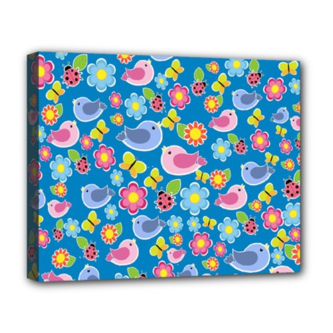 Spring pattern - blue Deluxe Canvas 20  x 16