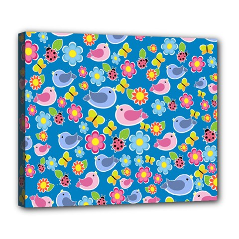 Spring pattern - blue Deluxe Canvas 24  x 20