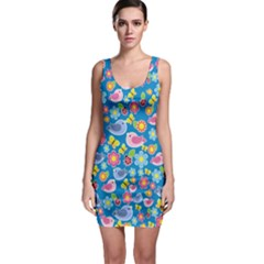 Spring pattern - blue Sleeveless Bodycon Dress