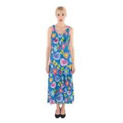 Spring pattern - blue Sleeveless Maxi Dress