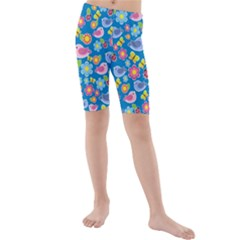 Spring pattern - blue Kids  Mid Length Swim Shorts
