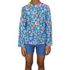 Spring pattern - blue Kids  Long Sleeve Swimwear