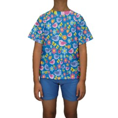 Spring pattern - blue Kids  Short Sleeve Swimwear
