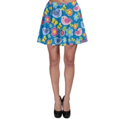 Spring pattern - blue Skater Skirt
