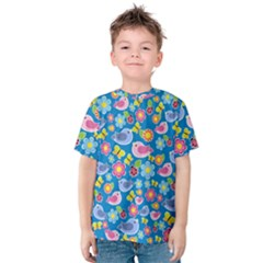 Spring pattern - blue Kids  Cotton Tee