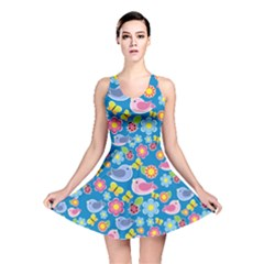 Spring pattern - blue Reversible Skater Dress