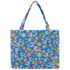 Spring pattern - blue Mini Tote Bag